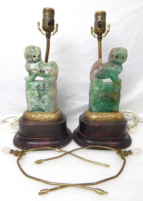 Old Chinese Foo Dog Jade Fluorite Table Lamps