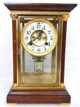Antique Waterbury Landes Gilt Brass Wood & Glass Mantel Carriage Regulator Clock