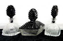 Vintage Art Deco Czech Black Cut Glass Perfume Bottle Trinket Box Vanity set