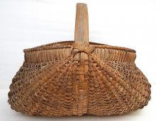 Antique Early American Primitive Wicker Reed Cane Gathering Basket