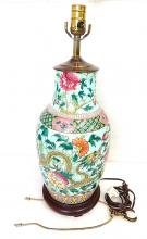 Chinese famille verte rose table lamp vase