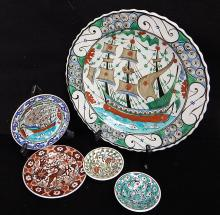 Ikaros Pottery Rhodes Greece Hand Painted Charger Plate Lot