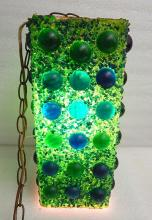 Mid Century Blue Green Acrylic Lucite Swag Hanging Pendant Box Lamp