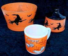 Vintage Hazel Atlas Glass Bowls Halloween Design
