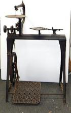 Antique Millers Falls cast iron companion treadle lathe scroll saw circa 1885