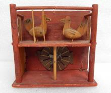 Antique primitive Tramp Folk Art Mechanical Pecking Chicken Coop Wind Up Toy