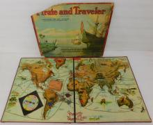 1911 Milton Bradley Pirate And Traveler Geography Board Game