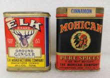Antique Spice Tin Can Elk Manufacturing Tenn Mohican Company NY