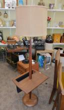 Teak Mid Century Danish Modern Floor Lamp w table stand