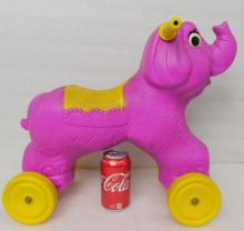 Vintage 1960s Empire Plastic blow mold ride on scooter toy purple elephant