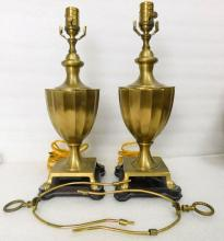 Pair Wildwood Neoclassical Federal Traditional Solid Brass Urn Vase Table Lamps