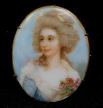 Antique Georgian Painted Porcelain Portrait Pin Brooch Victorian Edwardian Cameo