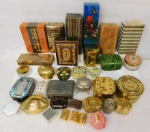 Collection trinket jewelry casket vanity box Lot brass glass wood metal marble