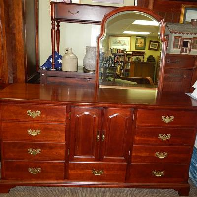 large chippendale traditional cherry wood dresser w mirror