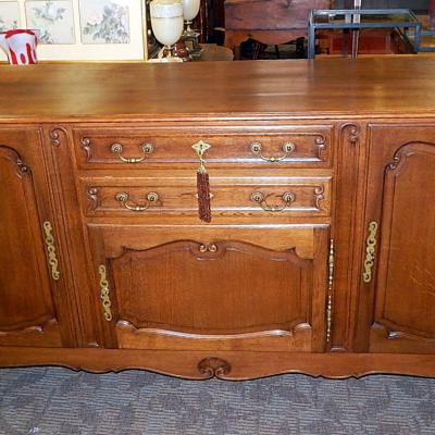 Antique Jacobean traditional oak server sideboard buffet