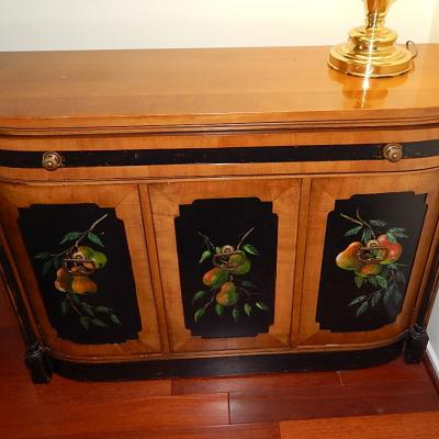 vintage Century small painted oak sideboard cabinet hall console stand