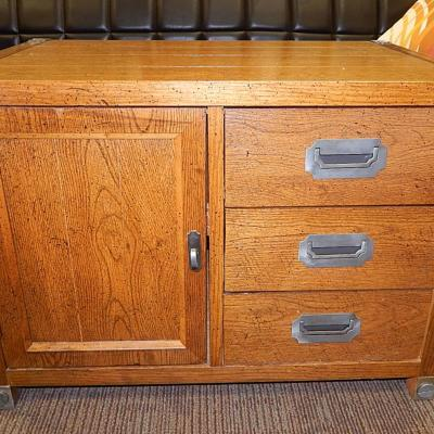 Bernhard Mid century mercantile oak media TV entertainment stand chest