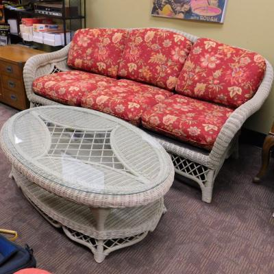Henry Link Wicker Rattan Sofa Couch w Coffee Table PAID $1900