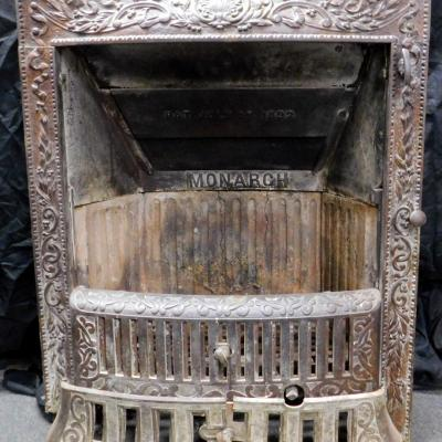 Antique Monarch Cast Iron Victorian Fireplace Insert Fire Place c1892