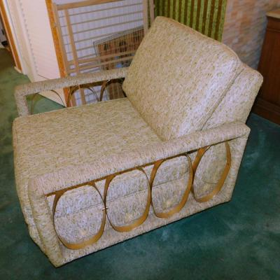 Mid Century Hollywood Regency Tweed lounge accent chair