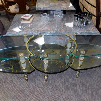 Hollywood Regency Italian Glass Brass 3pc Coffee End Table Set