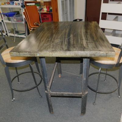 Industrial zinc metal small dinette table work bench desk