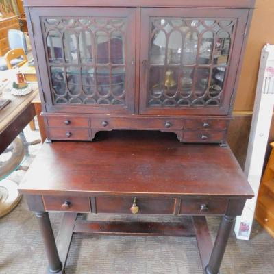 19th Century French plantation campaign desk cabinet hutch