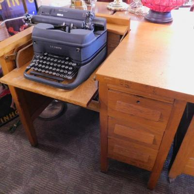 1940s mission oak typewriter flip desk