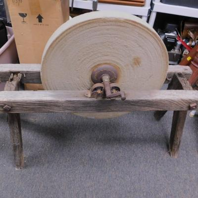 Antique primitive grinding wheel sharpening stone Lombard Keystone Boston Mass PA 1860