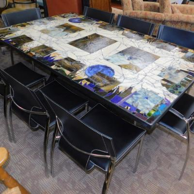 Contemporary modern custom stained glass dining room table w 8 chairs