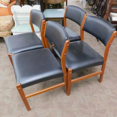 4 Mid century modern MCM black dining room chairs