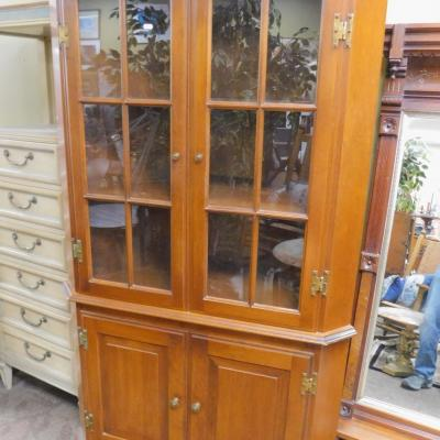 Traditional colonial style maple or cherry corner china cabinet shelf