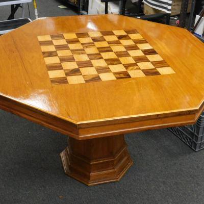 Hand crafted oak octagonal game card poker pedestal table