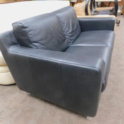 IKEA real leather contemporary small black couch sofa