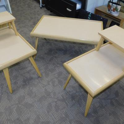 Retro formica laminate mid century coffee end table set