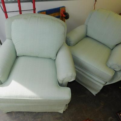 Huntington House swivel lounge club rolled arm chairs blue
