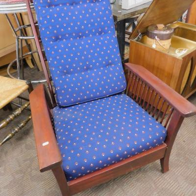 Refinished antique mahogany Morris tilt back chair