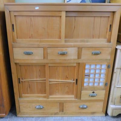 Vintage Asian Shelf Cabinet Cupboard Chest