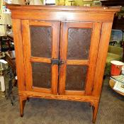 Antique Early American Dutch Country Oak Pie Safe Cupboard Cabinet