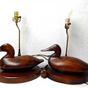Vintage Cornwall Wood Duck Decoy Table Lamps