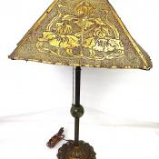 Antique Arts and Crafts Electric Table Lamp Light Punched Tin Brass