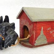 WWII Era Tramp Folk Art Cast Iron Scotty Dog House