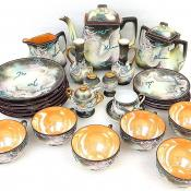 27pc Vintage Japanese Moriage Hinode Charcoal Lithopane Dragonware Tea Pot Set