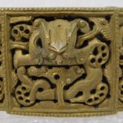 Antique Chinese Carved 19C Qing Brass Belt Buckle