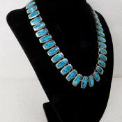 Sterling Silver Turquoise Inlay Taxco Mexico Necklace