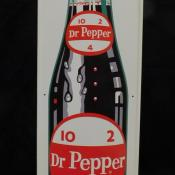Original 1950s large Dr Pepper metal tin litho embossed sign bottle