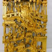 Antique Chinese gold gilt lacquer pierced wood Buddhist temple alter carving