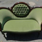Antique Empire Victorian mahogany settee loveseat green re-upholstered