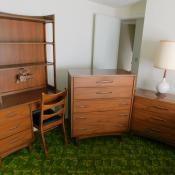 Mid century modern Broyhill walnut bedroom set dresser chest desk