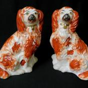 Pair Antique Staffordshire Victorian Ceramic Dog Figurines Cocker Spaniel